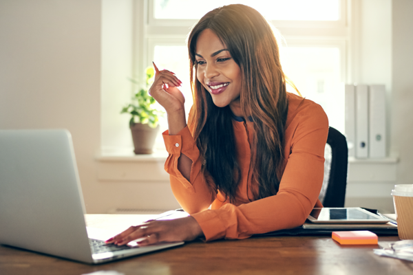Woman taking an online course