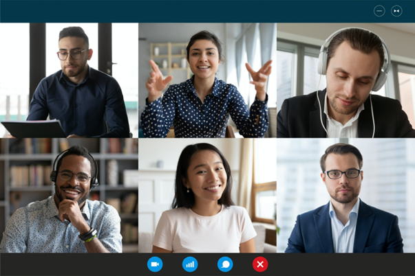A group of professionals on a zoom meeting