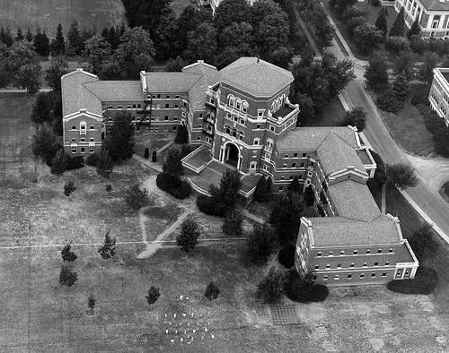 Black and white photo of Weatherford from the air