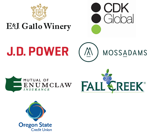 Oregon State University College of Business CDK, E & J Gallo Winery, Fall Creek Farm and Nursery, Inc., JD Power, Moss Adams, Mutual of Enumclaw, Oregon State Credit Union