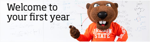 Benny Beaver in front of whiteboard reading Welcome to your first year