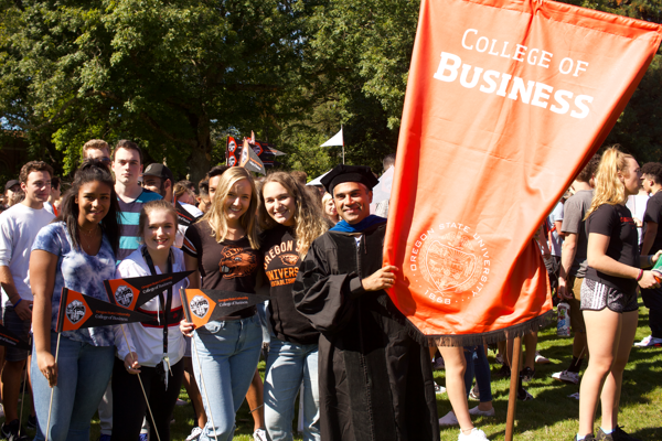 First-year College of Business students gathering at convocation