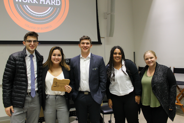 A group of College of Business students at the pitch competition